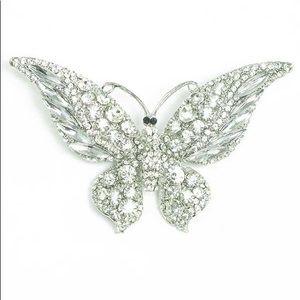 Rhinestone w/Crystal Butterfly Brooch